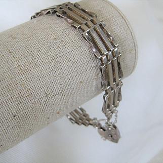 Vintage English Silver Gate Bracelet 1/2 inch wide w/Heart