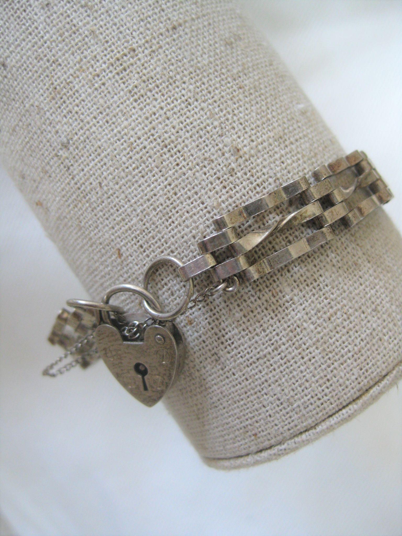 Vintage English Silver Gate Bracelet, 5/16 ins wide W/Heart