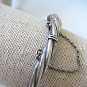 Vintage Silver Twist Style Bangle w/Hinge