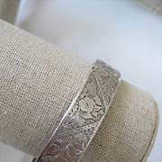 "Early 1900s English Silver Hinged Bangle w/Initials ""M.S.Y."""