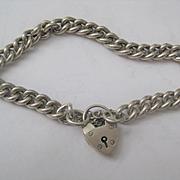 Vintage English Silver Chain Bracelet w/Heart Closure