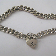 Vintage English Silver Chain Bracelet w/Heart Closure