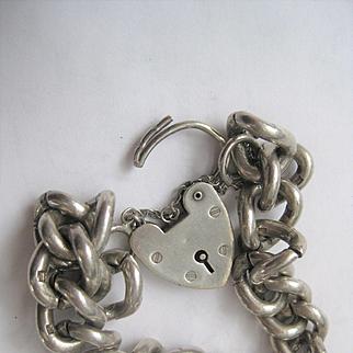 Vintage Super Heavy English Silver Bracelet w/Heart Closure