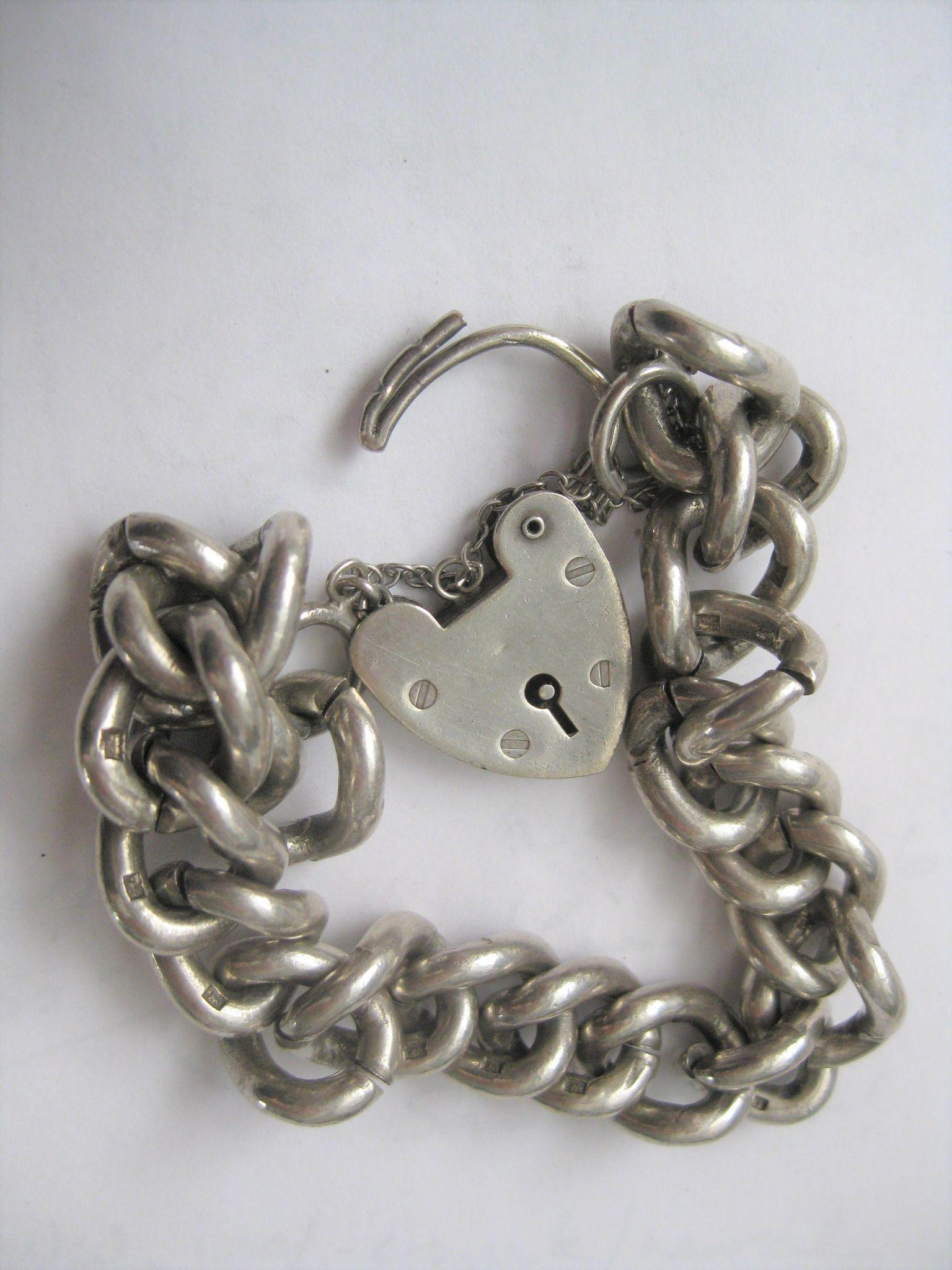 Vintage Super Heavy English Silver Bracelet w/Heart Closure