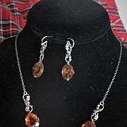 Edwardian Scottish Thistle/Cairngorm Necklace & Earrings Set