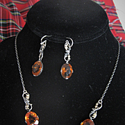 Edwardian Scottish Thistle/Cairngorm Necklace & Earrings Set