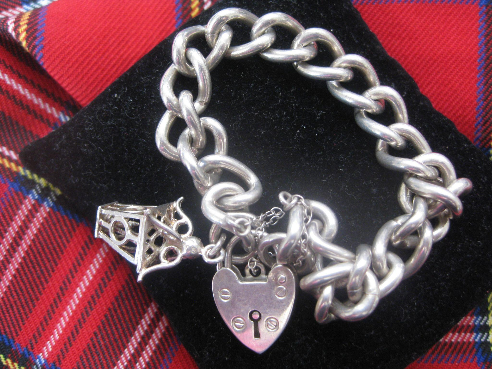 Heavy Vintage Chunky Silver Bracelet w/Charm and Heart Lock
