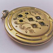 "Early 1900s Gold Filled Locket with Stones ""C"" or ""G"""