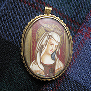 Pretty Vintage Portrait Pendant/Brooch Gilt on Silver