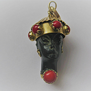 Antique Blackamoor with Coral set in 18K Gold