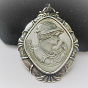 Vintage Silver Pendant with a Lady