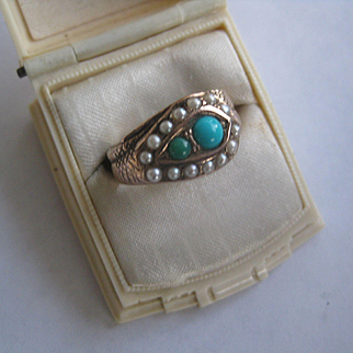 Beautiful Victorian Rose Gold/Antique Turquoise Ring, Size 7