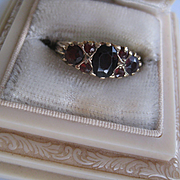 Beautiful English 9ct/Garnet Vintage Ring Size 6.25 to 6.5