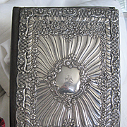 "LARGE..Antique English Silver Repousse Desk ""Blotter"" 12ins x 8 3/4ins"