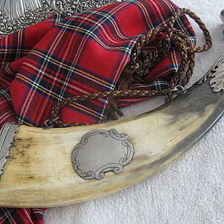 Stunning LARGE Scottish Faux Powder Horn with Silver Thistle