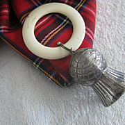 Vintage Scottish Teething Ring with Metal Thistle