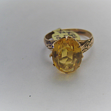 Vintage Faceted 10k Citrine Ring Size 7 3/4