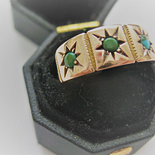 Beautiful English 9ct Rose Gold Ring w/Turquoise Size 5.75