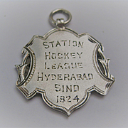 c1924 Silver Hypehabad Hockey Medal India/Pakistan