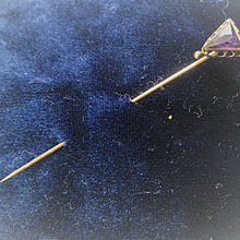 Vintage Rose Gold 2 1/2 Inch Stick Pin w/Amethyst