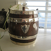 English Oak Biscuit Barrel from 30s/40s