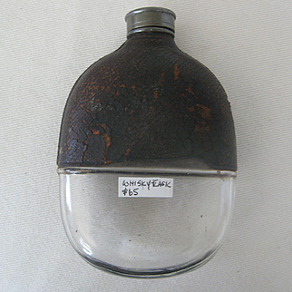 Early 1900s Whisky Flask/Glass & Leather