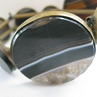 Victorian Black Banded Agate Stretch Bangle