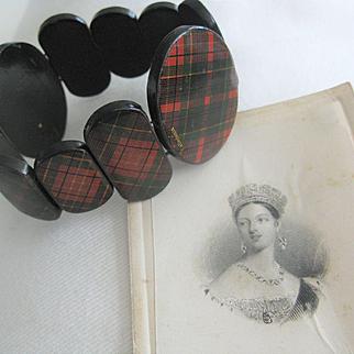Rare Scottish Victorian Tartanware Stretch Bangle