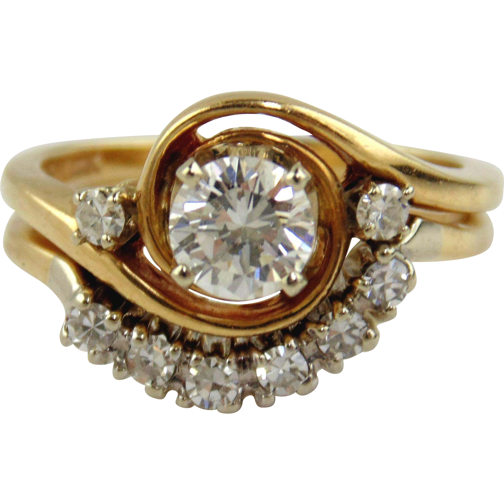 Diamond Engagement Ring Set 14kt Two Tone Gold Size 4
