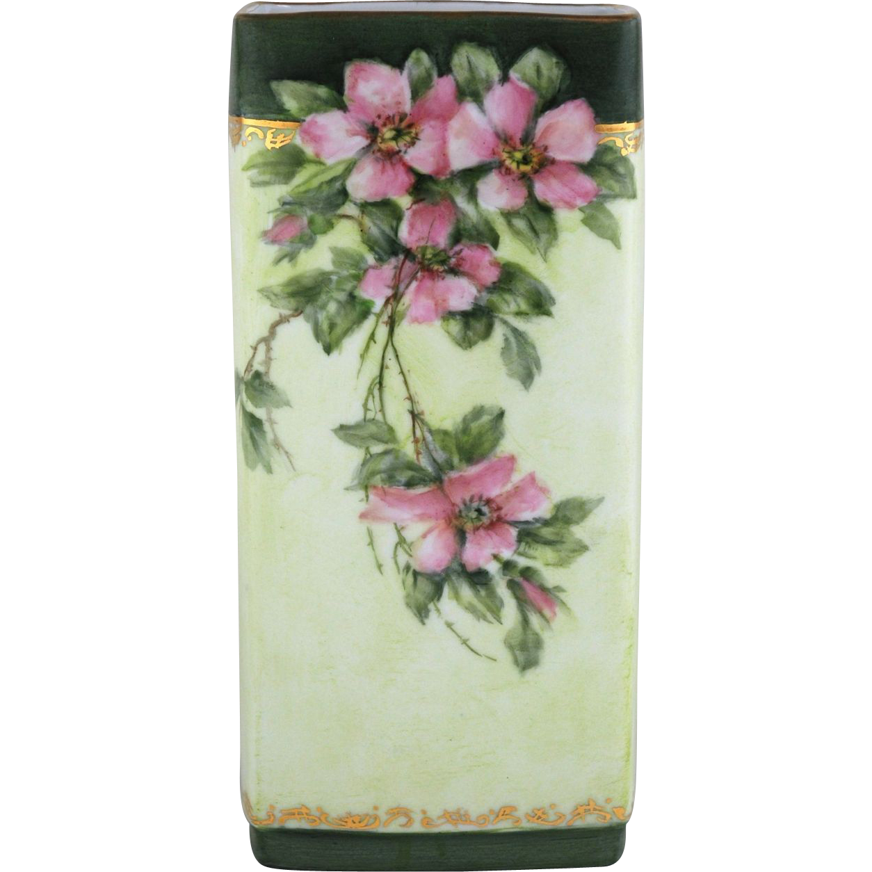 Hand Painted Bavarian Porcelain Vase with Roses by Surber