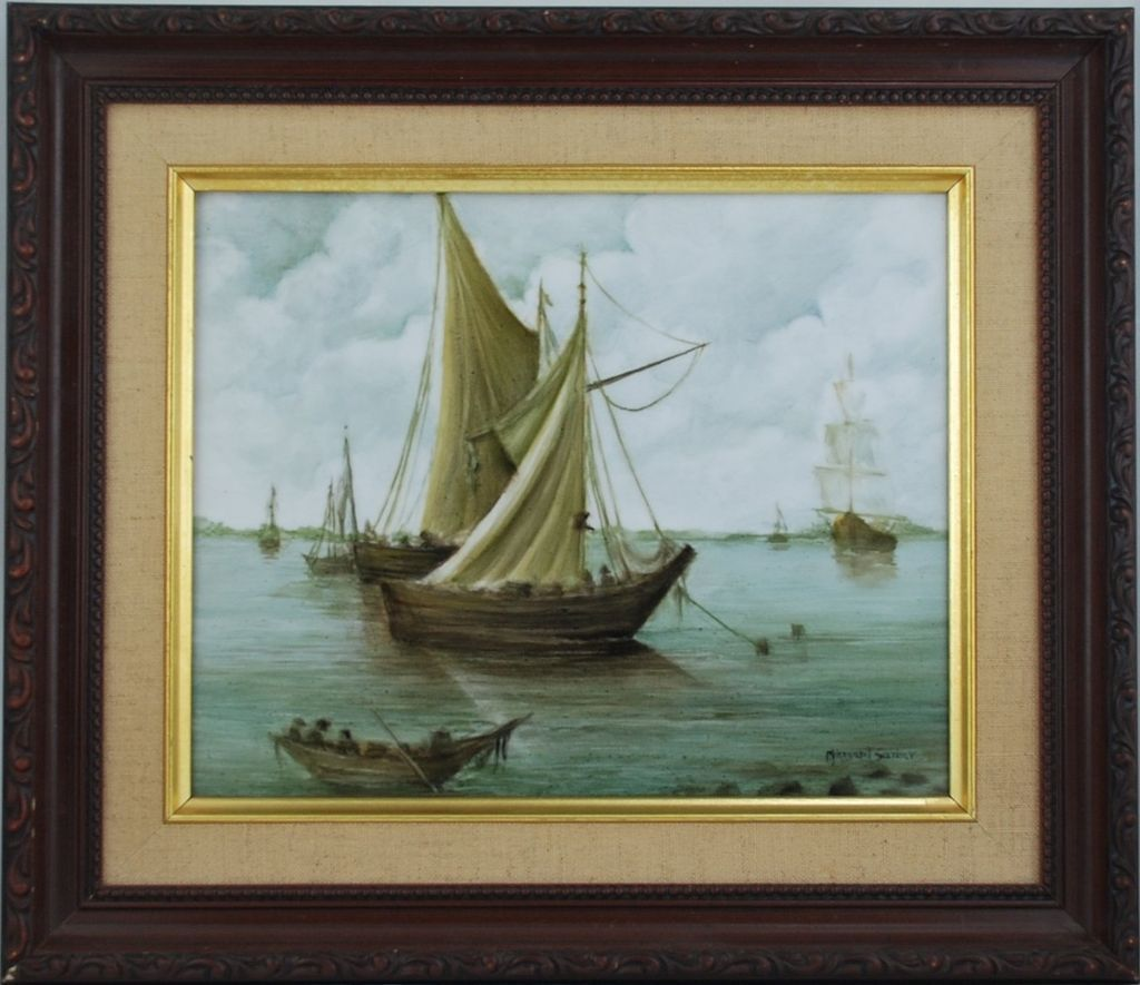 Hand painted porcelain tile of sailing ships by surber for Artwork on tile ceramic mural