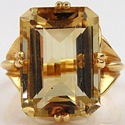 Citrine Ladies Ring 14kt Yellow Gold - 16.12cts
