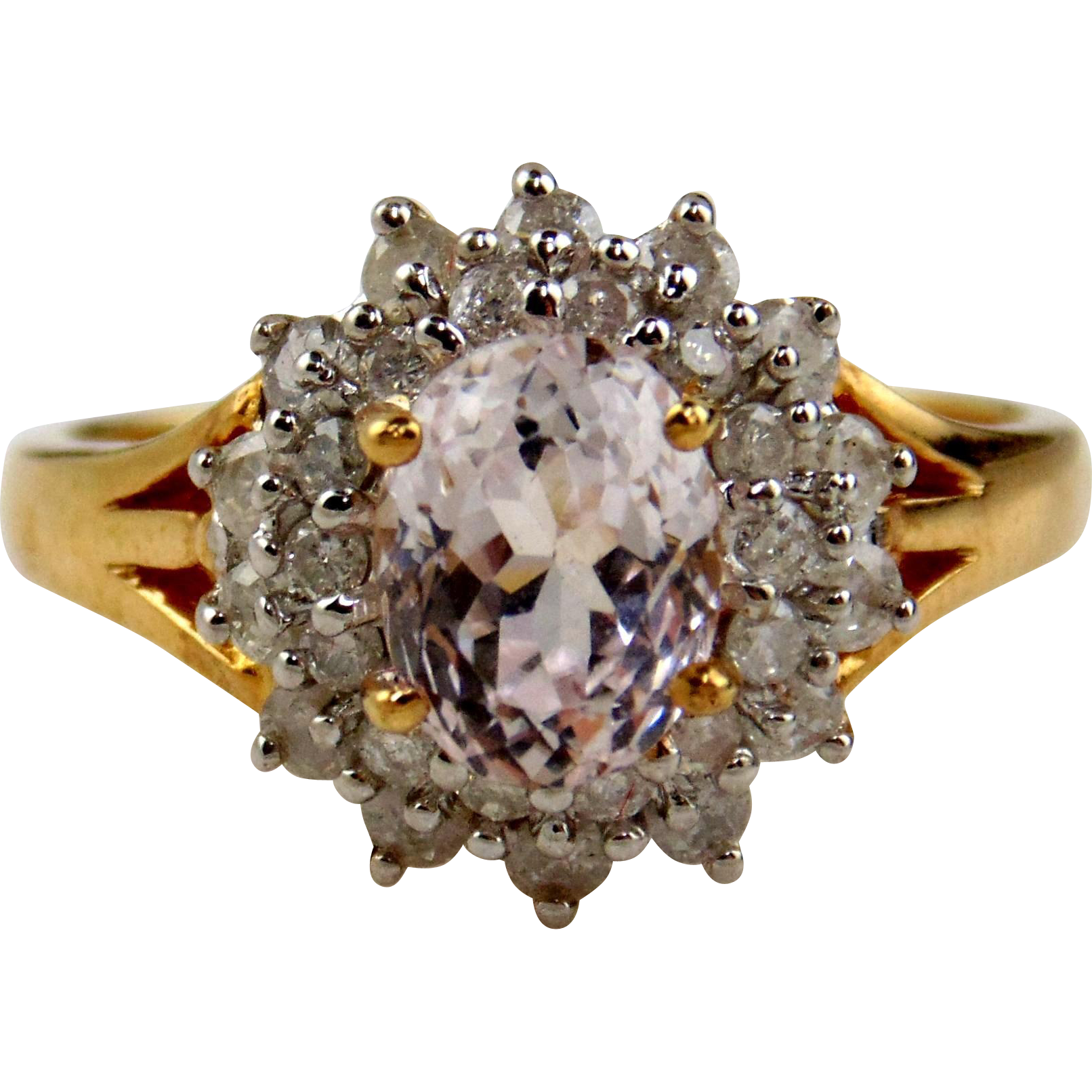Kunzite & Diamond Ring in 14kt Yellow Gold, Size 7 1/2