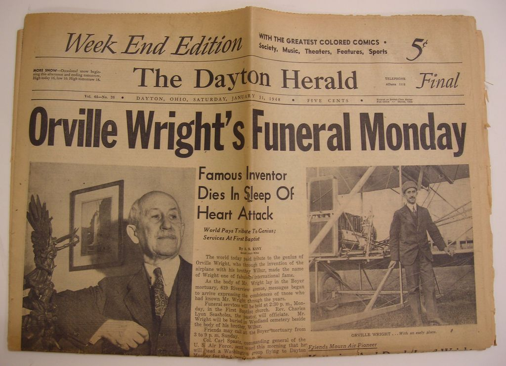 Dayton Herald Newspaper - Jan 31, 1948 - Orville Wright's Obituary