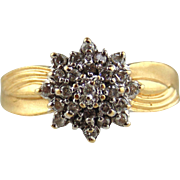 Diamond Ring 14kt Yellow Gold Ladies Snowflake Cocktail   With
