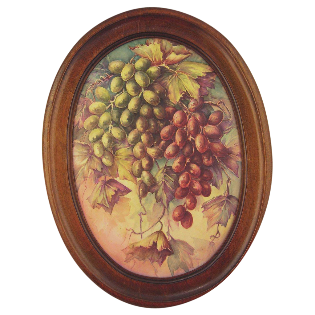 Hand-Painted Porcelain Tile With Grapes by Surber