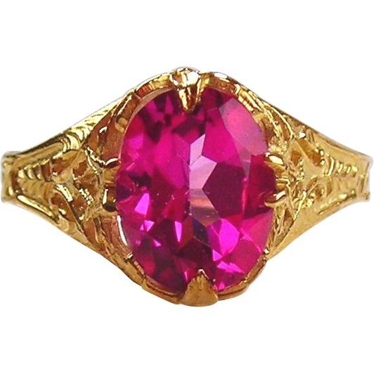 Pink Topaz Ring 14kt Yellow Gold
