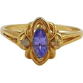 Tanzanite & Diamond Ladies Ring - 14kt Yellow Gold size 7 1/4