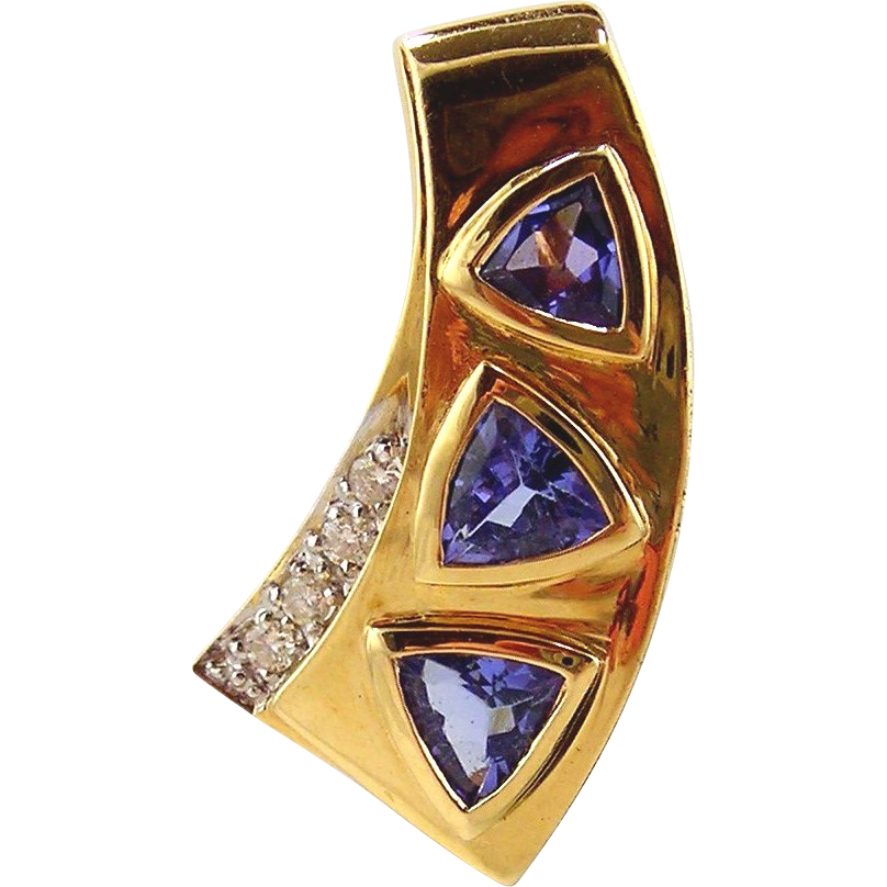 Tanzanite & Diamond  Pendant / Slide 14kt Yellow Gold