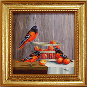 Orange Delights  Miniature Oil Painting-Baltimore Orioles