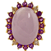Jade, Amethyst & Diamond Ring - 14kt Yellow Gold