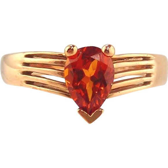 Garnet  Ring 14kt Rose Gold , Spessartite