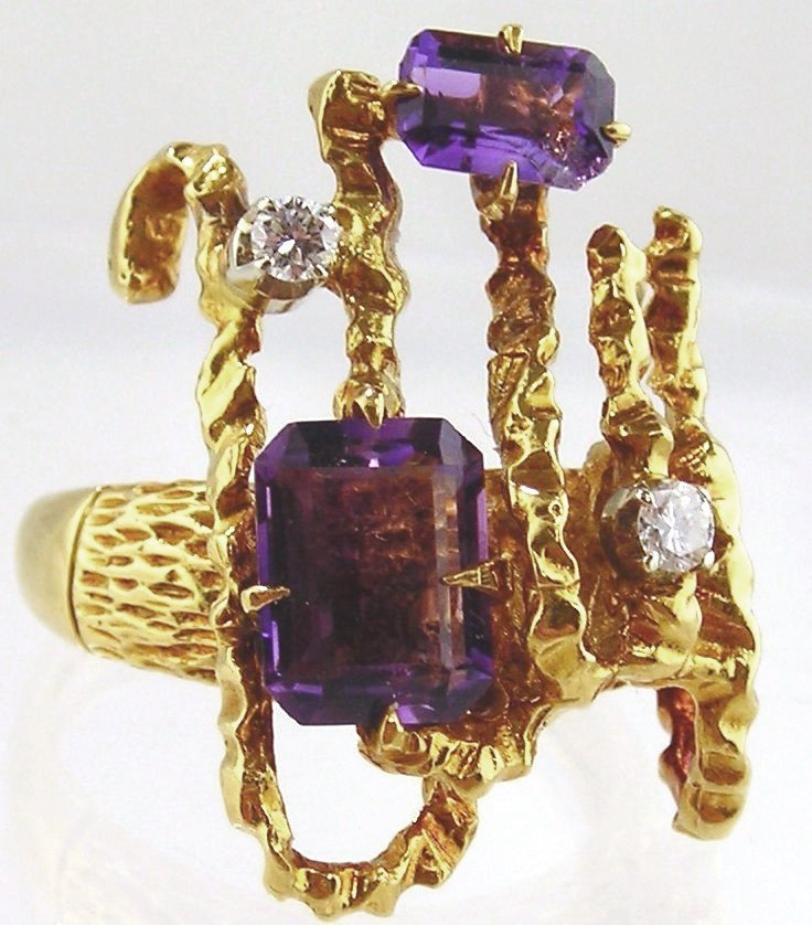 Amethyst & Diamond Ring- 18kt Two-tone  Gold