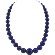 Lapis Lazuli  Necklace W/14kt White Gold Clasp