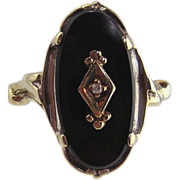 Black Onyx & Diamond Ring 10kt White Gold-Vintage