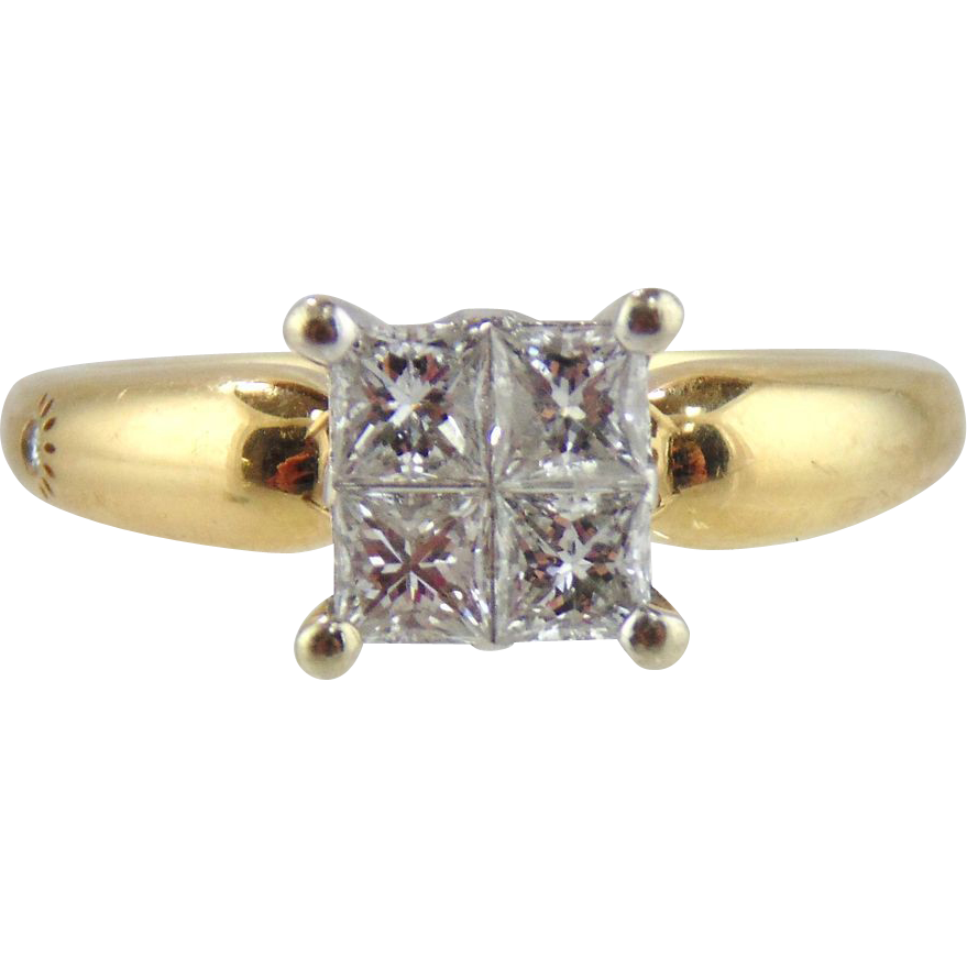 Diamond Engagement  Ring 14kt Two Tone Gold-Size 8 1/2