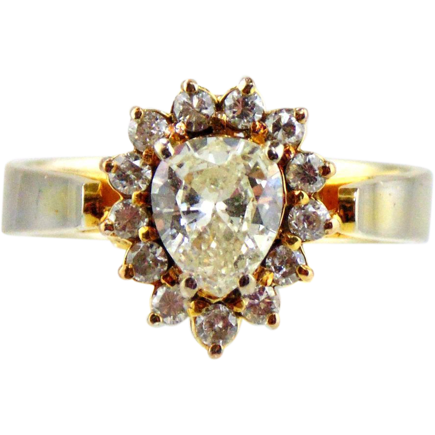 Diamond  Ring 10kt Two Tone Gold-1.02cts