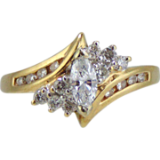 Diamond  Ring 14kt Two Tone Gold-Size 6 3/4