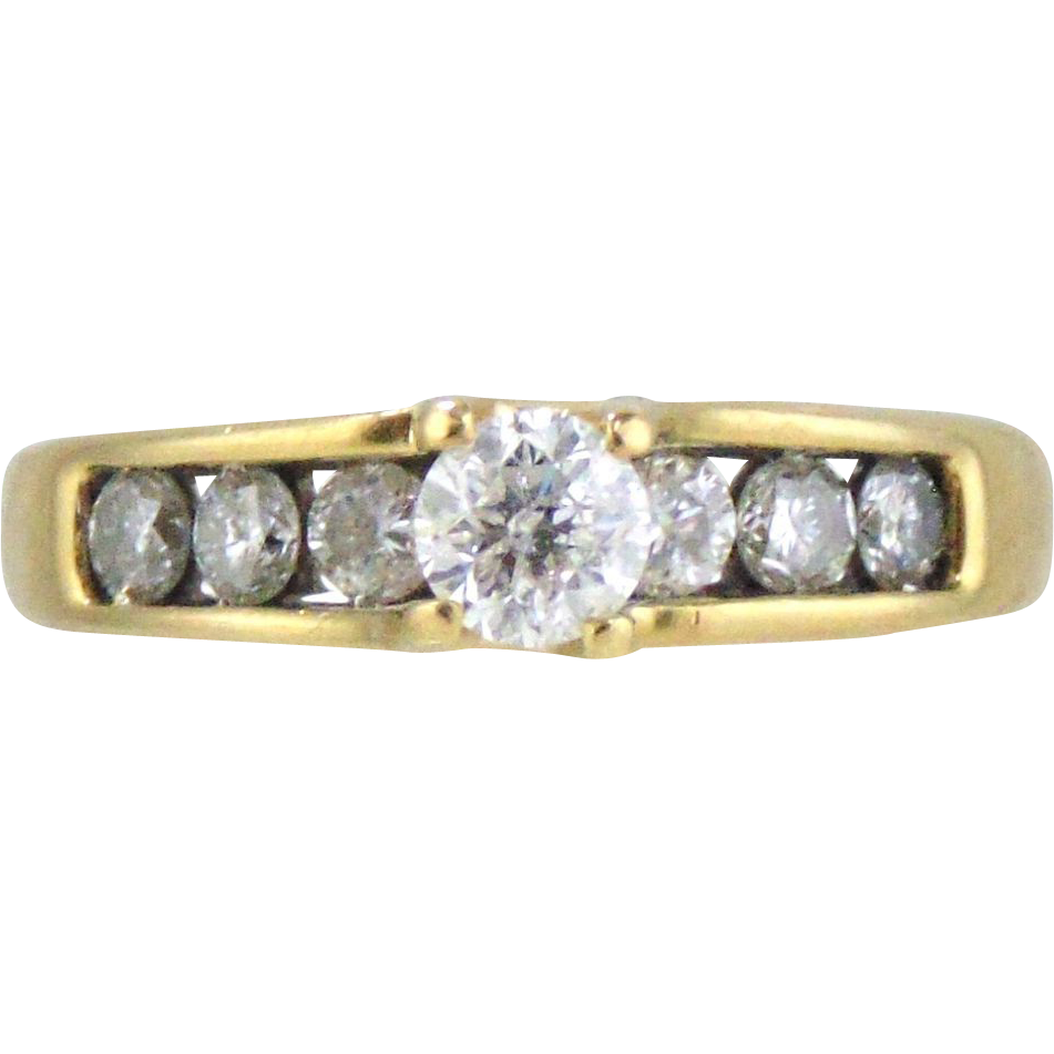 Diamond  Ring 14kt Yellow Gold-1cttw