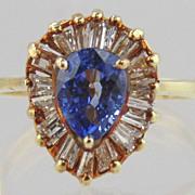 Sapphire & Diamond  Ring 14kt Yellow Gold, Size 4